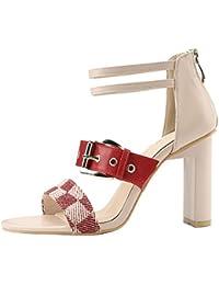 LGK&FA Square Talón Y Cremallera Trasera Roma Toe Toe Sandalias Cinturones Hebillas Cinturones Con Hebillas Zapatos...
