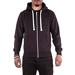 Love My Fashions® Men Hoodies Plain Patched Zipped Fleece Hooded Sweatshirt Cotton Regular Fit Long Sleeve Causal Drawstring Two Front Pockets Plus Size