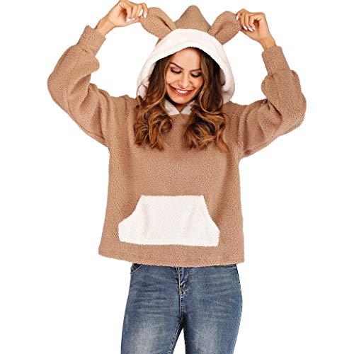 LSAltd Winter-Frauen Arbeiten reizende Kaninchen-Ohr-mit Kapuze Sweatshirt-Oberseiten-beiläufigen Farben-Block-Unterhalt-warme Wolle-Pullover-Bluse um (Fleisch Kaninchen Frische)