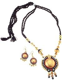 More Bangla Women's Puja Bahaar Terracotta Jewellary Set-Black