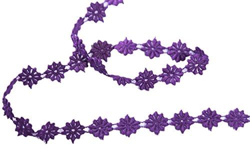 Élégant petit style floral dentelle style dentelle brodé motif brodé mariage nuptiale 6mm de large M31565 (1 Mètre, Violet)