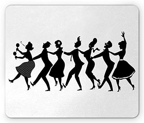 Dance Mouse Pad, Silhouette Group People in Late 1950s Early 1960s Fashion Dancing Conga Line, Standard Size Rectangle Non-Slip Rubber Mousepad, Black White