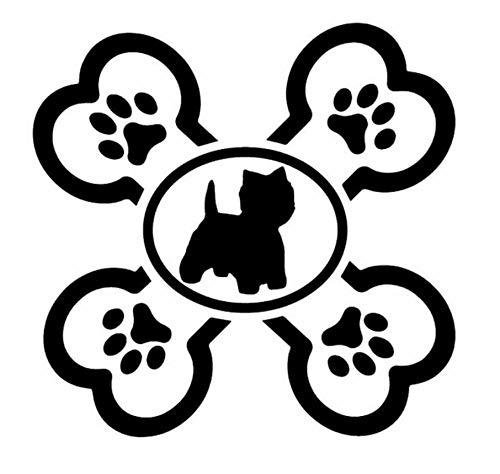 NALLX Adesivi per Auto in Vetro per paraurti Westie Cross Bone Dog Decalcomania per Vinile Adesivo per Auto West Highland White Terrier Dog 13X12.7CM 2 Pezz