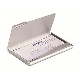 DURABLE 241523 – Portabiglietti da visita tascabile in alluminio, 20 biglietti da visita (90×55 mm), argento metallizzato