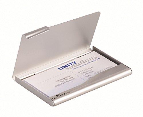 Durable 241523 - portabiglietti da visita tascabile in alluminio, 20 biglietti da visita (90x55 mm), argento metallizzato