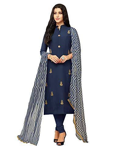 AKHILAM Women\'s Embroidered Chanderi Cotton Semi-Stitched Chudidar Salwar Suit Dress Material with Chiffon Dupatta (Blue_Free Size)