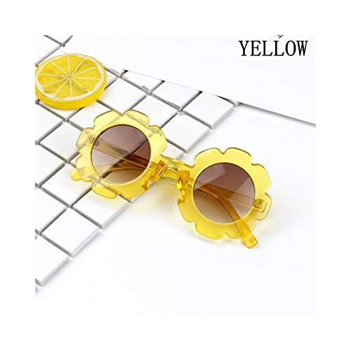 Sportbrillen, Angeln Golfbrille,Vintage Kids Sunglasses Child Sun Glasses Round Flower Gafas Baby Children UV400 Sport Sunglasses Girls Boys Oculos De Sol Yellow