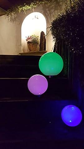 3 x LED Solarleuchte MARA Gartenleuchte Kugelleuchte mit Erdspieß Durchmesser 15 + 15 + 20cm Solarleuchte Kugel