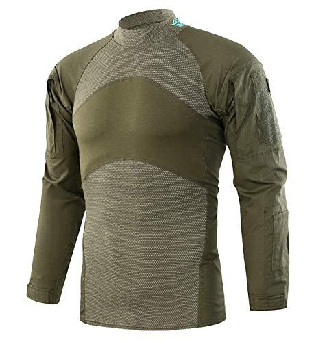 KEFITEVD Herren Langarmshirt Slim Fit Outdoor Shirt Stifttaschen Baumwolle Shirt Taktisch Hemd Tactical Army T-Shirt Flecktarn Freizeithemd Oliv M (Etikett: XL) -
