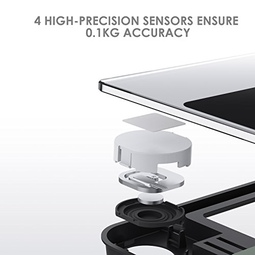 Deik Bilancia Pesapersone Digitale alta Stabilità Piattaforma Vetro Temperato con LCD Schermo Retroilluminato,Tecnologia Step-on, includere metro a nastro e batteria AAA, 5kg-180kg - 4