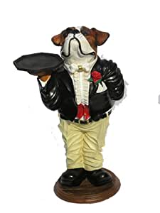 englische bulldogge als figur butler statue. Black Bedroom Furniture Sets. Home Design Ideas