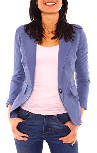 Easy Young Fashion Damen Sommer Sweat Jersey Blazer Jacke Sweatblazer Jerseyblazer Sakko Kurz Gefüttert Langarm Uni Einfarbig Jeansblau L - 40 (XL)
