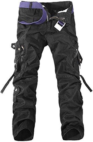 TDOLAH Herren Stretch Cargo-Hose ohne Gürtel Arbeitshose Bundhose Armee Camo Schwarz Schwarz