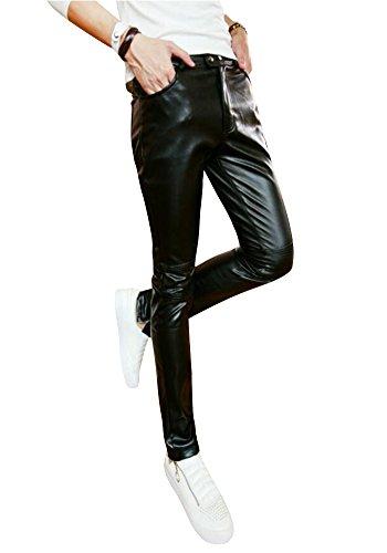 JKQA Jeans de hombres metalico brillante (2XL, Black)
