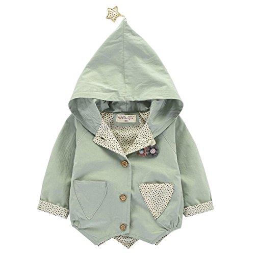 Longra Kinder Baby Mädchen Kleinkind Winter Warm Trenchcoat Mantel mit Kapuzen Kinder Übergangsmantel Steppjacke Hooded Jacket Windbreaker Jacke Outwear Parka(0-5Jahre) (80CM 12Monate, Green) (Mädchen Kleine Trenchcoat)