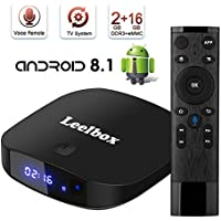TV Box Android TV Sistema 8.1 - Leelbox Smart TV Box con Mando Inteligente, 2GB RAM & 16GB ROM, widevine L1, 4K*2K UHD H.265, USB*2, WiFi Media Player, Android Set-Top Box