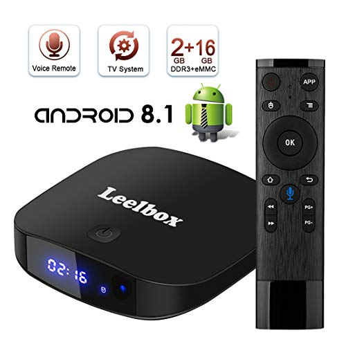 TV Box Android TV Sistema 8.1 - Leelbox Smart TV Box con Mando Inteligente, 2GB...
