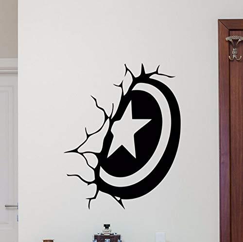 Capitán América Escudo Etiqueta De La Pared Superhéroe Etiqueta De Vinilo Decoración De La Pared Para El Dormitorio Extraíble Estilo De Dibujos Animados Arte De Los Niños Cartel 57X72 Cm