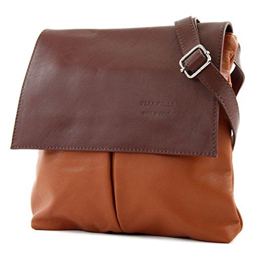 Italien Kleines Leder (modamoda de - T63 - ital Umhänge-/Schultertasche Nappaleder, Farbe:Camel/Braun)