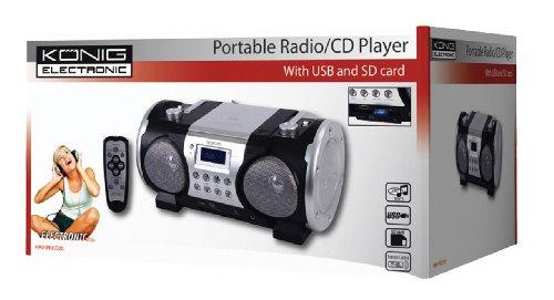 König HAV-PRCD20 Tragbares Stereo Radio (CD-/MP3-Player, 13 Watt, SD-Kartenslots, USB 2.0) schwarz/silber