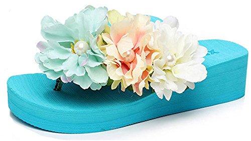 Good Night Belle Bohemia talon compensé Flip Flops avec des fleurs faites à la main bleu ciel