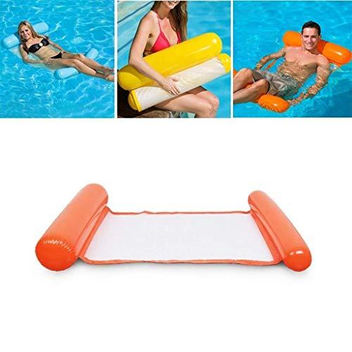 Swim Party Toys Schlauchboot Schwimmbad Drift Ungefüttert Schwimmbad Schwimmenden Bett Hängematte Schwimmbad Aufblasbare Faul mit 1 Pedal Luftpumpe Sommer Wasserspielzeug, Golden_flower