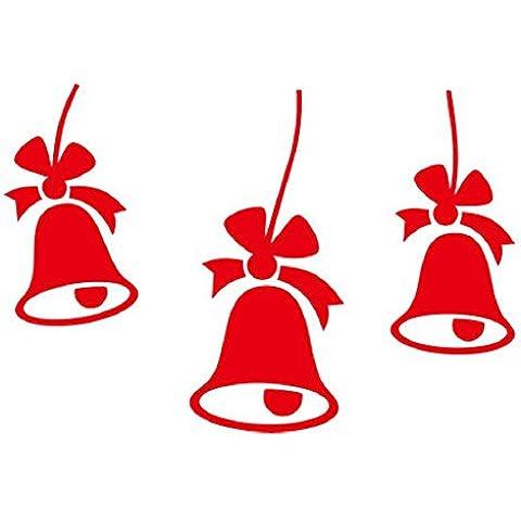 YYH Campanas de Navidad pared de PVC pegatinas pared extraíble pegatinas infantiles ventana decoración paquete de 10