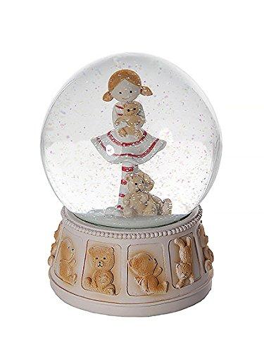 Pezzi da collezione statuine - palle di vetro globo di neve meravigliosa sfera di vetro con neve ornamentale da collezione con bambina piccola e orso peluche per bambine