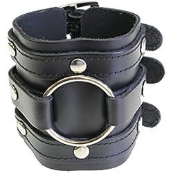 Ancho de cuero de triple envoltura de manguito de correa de hebilla de pulsera gótica de fijación - de cuero negro