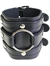 Leather Wide Triple Strap Cuff Wrap Gothic Wristband Buckle Fastening