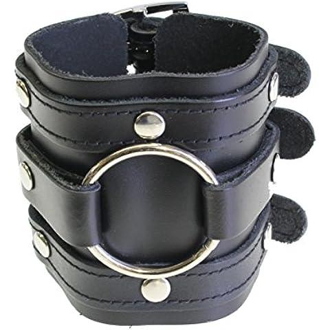 Ancho de cuero de triple correa de pulsera brazalete del abrigo gótico cierre de hebilla