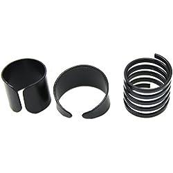 Juego de 3 anillos de metal, abiertos y ajustables, para el dedo corazón o el pulgar, en color negro