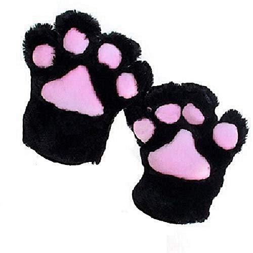Kostüm Anime Cosplay Niedlichen - ZHANGYUGEGE Anime Cosplay Party Kostüm süße Katze Bär Plüsch Pfote Klaue Handschuhe für Party, Schwarz