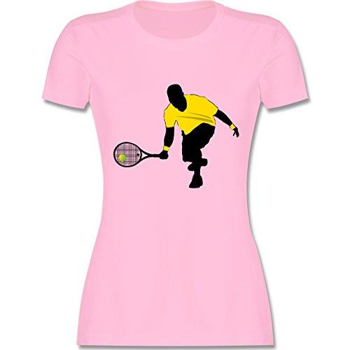 Tennis - Tennis Squash Kniend - tailliertes Premium T-Shirt mit Rundhalsausschnitt für Damen Rosa