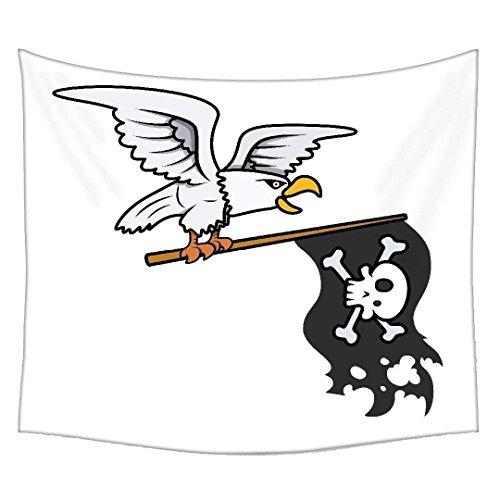 Eagle Tabelle (Snoogg Eagle, Pirat Flagge Vector Cartoon Illustration Wandteppichen indischen Mandala Tapisserie Dekorative Wohnheim Wandteppichen Beach Picknick Tabelle Hippie Tapisserie Wand, Bohemian)