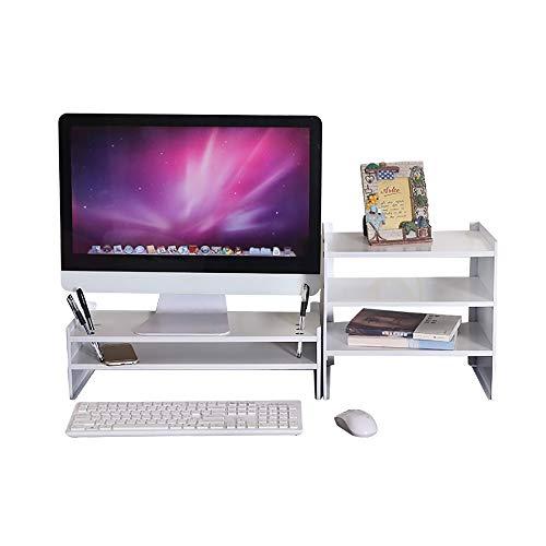 JB-Monitorständer Weiß Computerbildschirm Ständer Riser Desktop-Laptop-Bildschirm Arbeitserhöhungsregal Schreibtisch Tastatur-Lagerregal (Color : Double Storey+locker) -