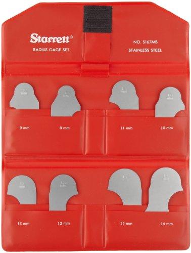 Starrett s167mbz Radius Gauge Set–Millimeter ohne Halter, Satin Finish, 8–15mm Range, 1mm Inkrement, 8Stärken (Viii Satin)
