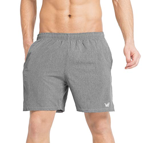 WHCREAT Herren Sport Shorts Kurze Hose Jogginghose mit Mesh-Design für Fitness Training hellgrau M -