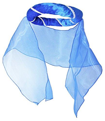 Mittelalter Haarband Helena für Damen Blau (Damen Schleier Hut Prinzessin)