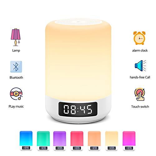 Arbily Nachttischlampe Nachtlicht mit Touchsensor Bluetooth-Lautsprecherfunktion warmes Tischleuchte in 8 Farbwechsel und 3 Helligkeitsstufen Dimmbar Atmosphäre Tischlampe
