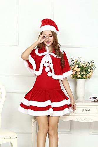 SDLRYF Weihnachtsmann Kostüm Weihnachten Kostüm Erwachsene Frau Kostüm Santa Claus Cos Kostüm Bühne Kostüm Party Nacht Feld Tanz Kostüm, M