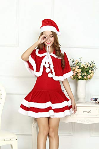 Frau Kostüm Santas - SDLRYF Weihnachtsmann Kostüm Weihnachten Kostüm Erwachsene Frau Kostüm Santa Claus Cos Kostüm Bühne Kostüm Party Nacht Feld Tanz Kostüm, XXL