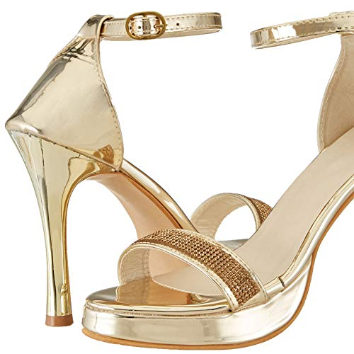Misto VAGON Women and Girls Sandals Heels Sandals Formal Sandals Cone Heel Sandals Bridal Sandals Sandals HIGH Heel Sandals Sandals with HIGH Heels and Hand Worked Upper VJ1229 (41, Gold)