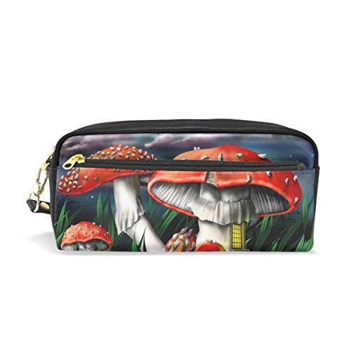 Coosun magia funghi portable pu pelle astuccio scuola di tasche stazionaria pouch caso grande capacità make up trousse
