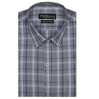 ACCOX Checkered Long Sleeves Regular Fit Formal Cotton Shirt for Men