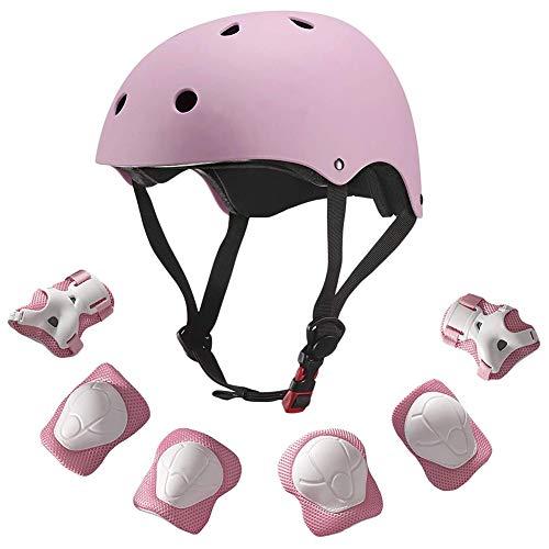 Hihey 7 Stück Skateboard Helm Fahrradhelm Protector Set Ellenbogen Handgelenk Knieschützer Kinderhelm Sport Sicherheit Schutzausrüstung Schutz für Kinder Protector Set