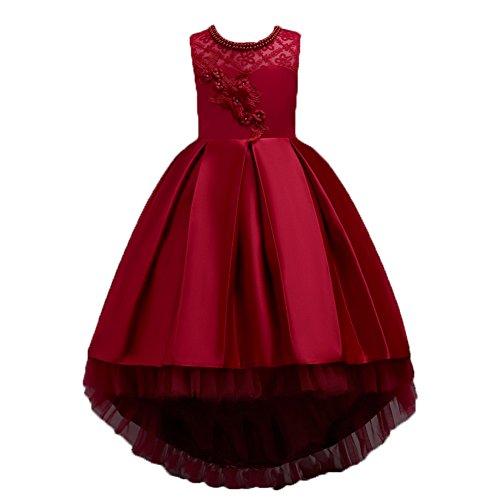 Wulide Kinder Mädchen Abendkleid Prinzessin Kleid Festkleid mit Blumen, Rot,...