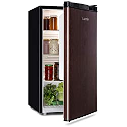 Klarstein Feldberg - Réfrigérateur compact, écologique, économique, 3 niveaux de clayettes, compartiment à légumes, 2 compartiments de porte, volume utile de 90 litres, éclairage, bois