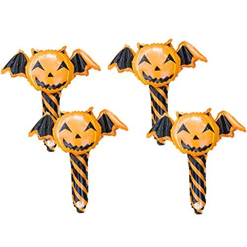 NUOBESTY Kürbis Stick Halloween Folienballons Teufel Cartoon Ballon Ballon Party Supplies Spielzeug für Kinder Dekoration 4 Stück