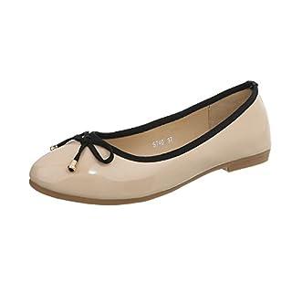 Ital-Design Klassische Ballerinas Damen-Schuhe Blockabsatz Beige, Gr 39, 9740-